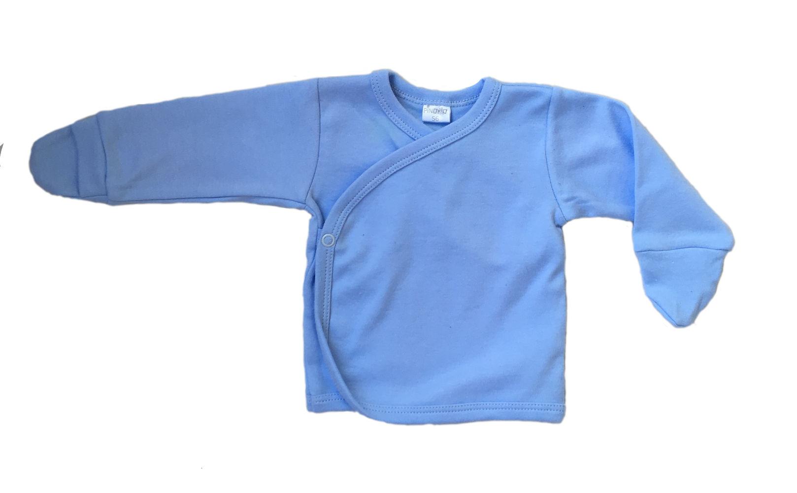 2b03ac5235cc83 Pinokio kaftanik CALINECZKA niebieski wiązany z łapkami-niedrapkami rozmiary  56-62 cm